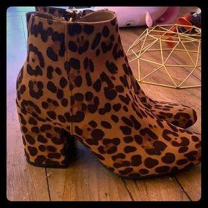 Leopard Zip Up Ankle Booties